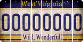 West Virginia 0 Cut License Plate Strips (Set of 8) LPS-WV1-027