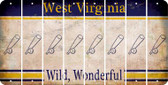 West Virginia BASEBALL WITH BAT Cut License Plate Strips (Set of 8) LPS-WV1-057