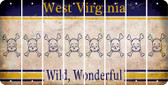 West Virginia SKULL Cut License Plate Strips (Set of 8) LPS-WV1-092