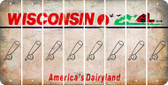 Wisconsin BASEBALL WITH BAT Cut License Plate Strips (Set of 8) LPS-WI1-057