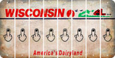 Wisconsin MIDDLE FINGER Cut License Plate Strips (Set of 8) LPS-WI1-091