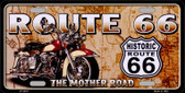 Route 66 Mother Road Wholesale Metal Novelty License Plate