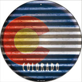 Colorado Flag Corrugated Effect Wholesale Novelty Circular Sign C-916