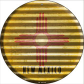 New Mexico Flag Corrugated Effect Wholesale Novelty Circular Sign C-941