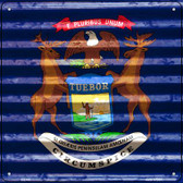 Michigan Flag Corrugated Effect Wholesale Novelty Square Sign SQ-446