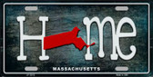 Massachusetts Home State Outline Wholesale Novelty License Plate LP-12012