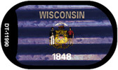Wisconsin Corrugated Flag Wholesale Novelty Dog Tag Necklace DT-11990