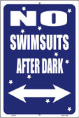 No Swimsuits After Dark Wholesale Metal Novelty Large Parking Sign LGP-658