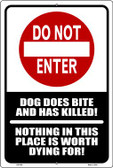 Do Not Enter Dog Bites Wholesale Metal Novelty Large Parking Sign LGP-690