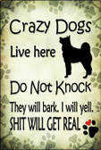 Crazy Dog Will Bark Wholesale Novelty Large Parking Sign LGP-1761