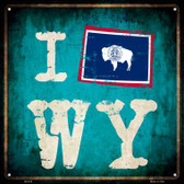 I Flag WY Wholesale Novelty Square Sign SQ-519
