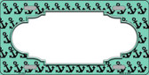 Mint Black Anchor Print With Scallop Center Wholesale Metal Novelty License Plate LP-5327