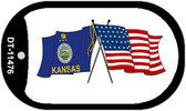 Kansas / USA Crossed Flags Wholesale Novelty Metal Dog Tag Necklace DT-11476
