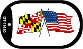 Maryland / USA Crossed Flags Wholesale Novelty Metal Dog Tag Necklace DT-11480