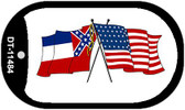 Mississippi / USA Crossed Flags Wholesale Novelty Metal Dog Tag Necklace DT-11484