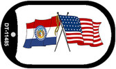 Missouri / USA Crossed Flags Wholesale Novelty Metal Dog Tag Necklace DT-11485