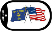 Oregon / USA Crossed Flags Wholesale Novelty Metal Dog Tag Necklace DT-11497