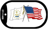 Rhode Island / USA Crossed Flags Wholesale Novelty Metal Dog Tag Necklace DT-11499