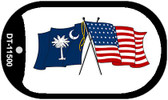 South Carolina / USA Crossed Flags Wholesale Novelty Metal Dog Tag Necklace DT-11500