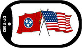 Tennessee / USA Crossed Flags Wholesale Novelty Metal Dog Tag Necklace DT-11502
