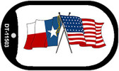 Texas / USA Crossed Flags Wholesale Novelty Metal Dog Tag Necklace DT-11503