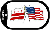 Washington DC / USA Crossed Flags Wholesale Novelty Metal Dog Tag Necklace DT-11511