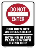 Do Not Enter Dog Bites Wholesale Metal Novelty Parking Sign P-690