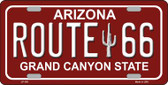 Route 66 Arizona Red Novelty Wholesale Metal License Plate