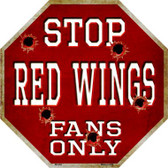 Red Wings Fans Only Wholesale Metal Novelty Octagon Stop Sign BS-294