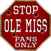 Ole Miss Fans Only Wholesale Metal Novelty Octagon Stop Sign BS-351