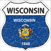 Wisconsin State Flag Highway Shield Wholesale Metal Sign