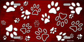 Red White Paw Print Oil Rubbed Wholesale Metal Novelty License Plate