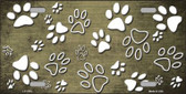 Gold White Paw Print Oil Rubbed Wholesale Metal Novelty License Plate