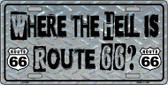 Where The Hell Is Route 66 Novelty Wholesale Metal License Plate