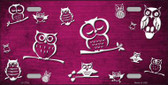 Pink White Owl Print Oil Rubbed Wholesale Metal Novelty License Plate
