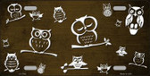 Brown White Owl Print Oil Rubbed Wholesale Metal Novelty License Plate