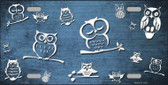 Light Blue White Owl Print Oil Rubbed Wholesale Metal Novelty License Plate