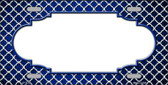 Blue White Quatrefoil Scallop Print Oil Rubbed Wholesale Metal Novelty License Plate