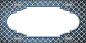 Light Blue White Quatrefoil Scallop Print Oil Rubbed Wholesale Metal Novelty License Plate