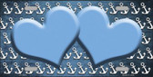 Light Blue White Anchor Hearts Print Oil Rubbed Wholesale Metal Novelty License Plate