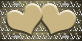 Gold White Anchor Hearts Print Oil Rubbed Wholesale Metal Novelty License Plate
