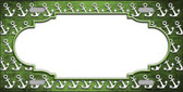 Green White Anchor Scallop Print Oil Rubbed Wholesale Metal Novelty License Plate