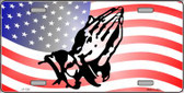 American Flag Praying Hands Novelty Wholesale Metal License Plate