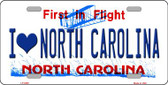 I Love North Carolina Novelty Wholesale Metal License Plate