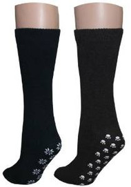 3 Pairs of Non-skid Unisex Slipper Socks (2 Black, 1 Brown) - Size 10-13