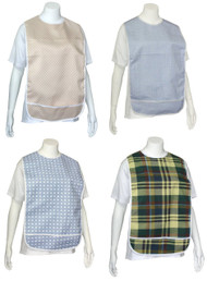 4 Pack Adult Vinyl Adult Bibs with Crumb Catcher - Premium