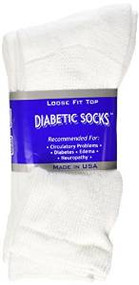 Diabetic CREW Socks MEN XL, sock size 13-15, 1 dozen Pairs, white