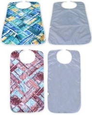 2 Quilted Adult Bibs with Vinyl Barrier - (1) Blue and (1) Red