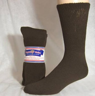 Diabetic Crew Socks (1 Dozen Pairs) (13-15, Brown)