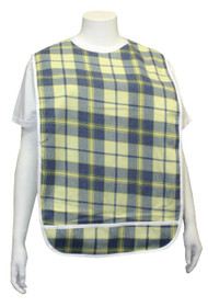 Adult Vinyl Adult Bibs with Crumb Catcher - Premium Bib (Pistachio and Blue)